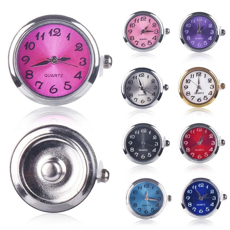 Buen Precio DIY broches de reloj botones aptos para 18mm Cadena de botones a presión pulseras de mano Collar para niñas Femme oro reloj cara clic joyería