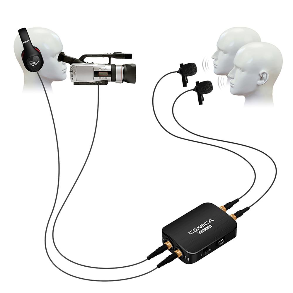 CVM-D03 Mono/estéreo COMICA micrófono Lavalier de doble cabeza, solapa de teléfono inteligente micrófono condensador omnidireccional para iPhone