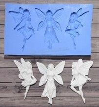 Three angels flower fairies silicone chocolate birthday cake decoration fandont   mold