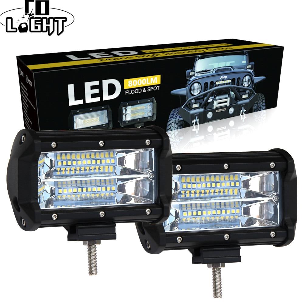CO LIGHT 5 inch Led Work Light Bar 12V 72W 144W Spot Flood 24V 6000K Led Bar for SUV Offroad ATV Lada Driving Lights Car Styling