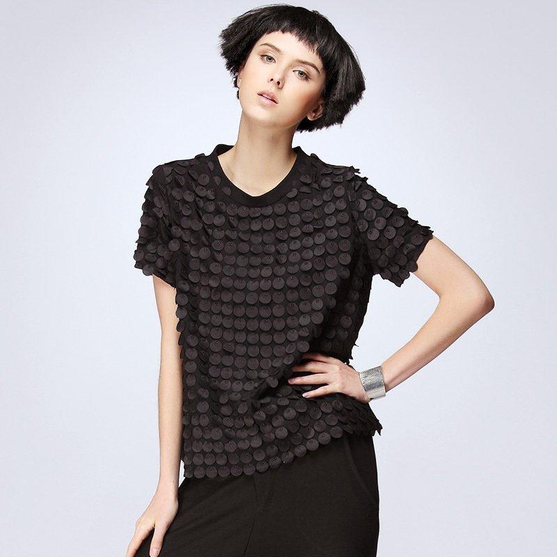 Vêtements Punk 2019 goutte deau nouveau été femmes t-shirts mousseline de soie t-shirts gland haut t-shirts grande taille noir chemises décontractées SA125S50