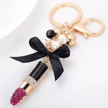 Creative Lipstick Key Chain Fashion Keychains Car Key Rings Accessories Women Bag Charm Pendant Trinket Wholesale
