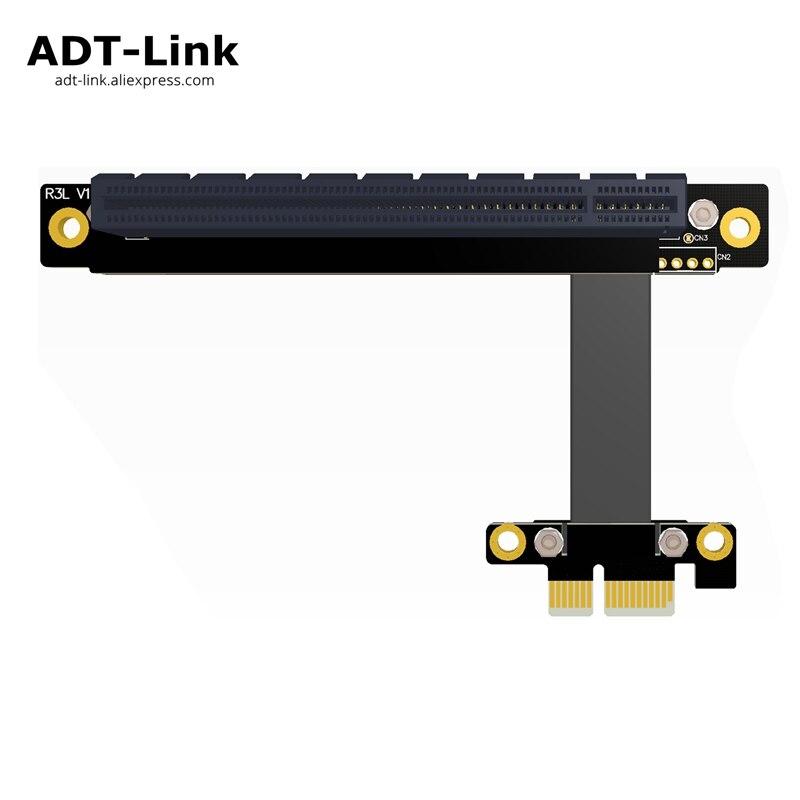 Cable PCIe 3,0x1 macho a x16 hembra 8G/bps PCI-E III placa base 1x 16x tarjeta gráfica extensor conversión codo ángulo izquierdo ADT