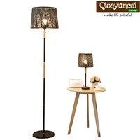 Qiseyuncai Modern minimalist creative wood warm romantic living room study bedroom bedside iron hollow desk lamp floor lamp