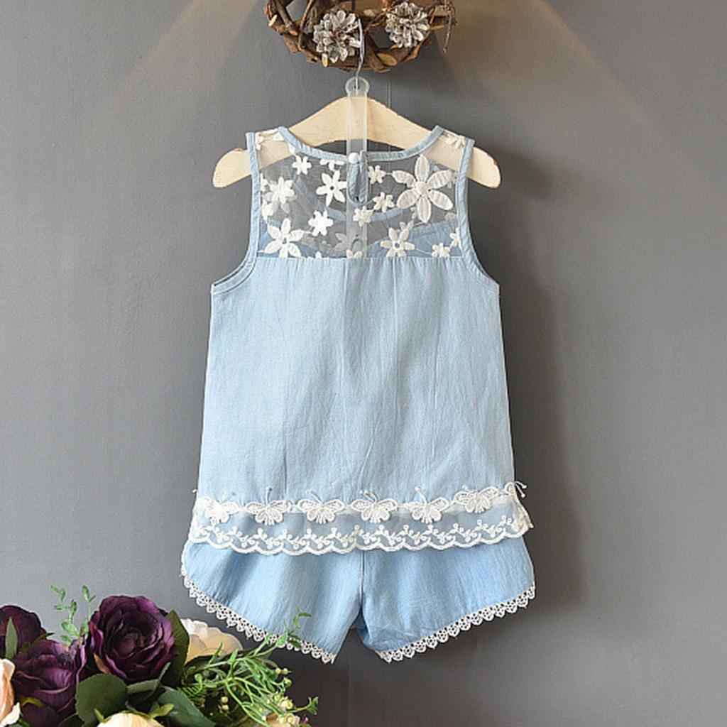 2pc Children Clothes Sets Toddler Kids Baby Girls Clothes Flower Lace Denim Shirt Vest+Shorts Summer Casual Outfits Set T9#