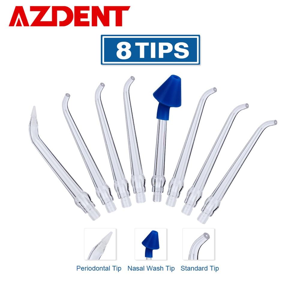 AZDENT 8 puntas para AZ-007 gen1 irrigador de agua Oral hilo Dental lavado Nasal bolsa Periodontal boquillas ordinarias hilo de riego