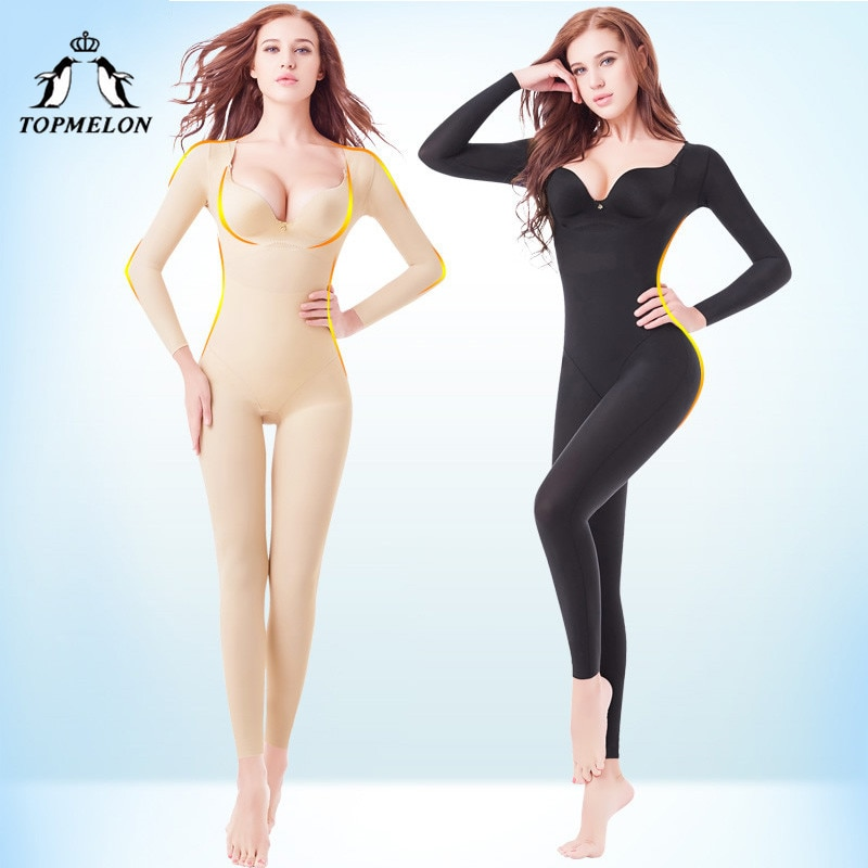 TOPMELON modeladores de cuerpo completo mujer correctiva ropa interior Gaine Amincissante mujeres negro Beige largo completo Underbust