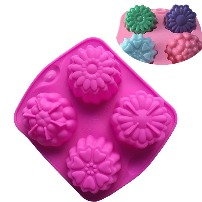 4 pastel de silicona con forma de flor diferente, pasta, pastel de Luna, caramelo, gelatina, pudín, Fondant, galletas, molde de Chocolate, utensilios para hornear