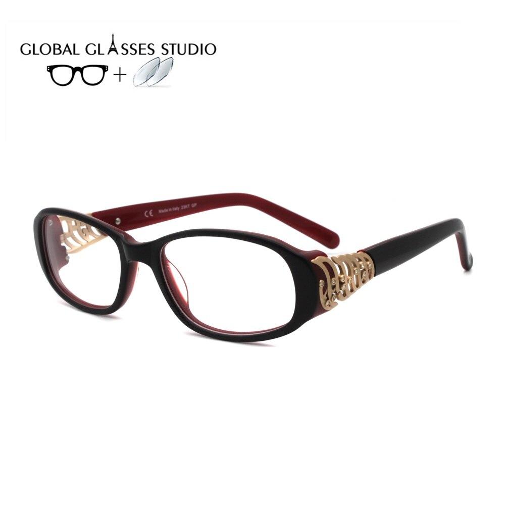 Women Acetate Glasses Frame Eyewear Eyeglasses Reading Myopia Prescription Lens 1.56 Index VCH346S