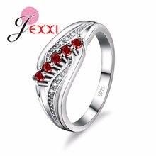 Новое 925 пробы Серебряное женское кольцо с блестящими кристаллами циркония