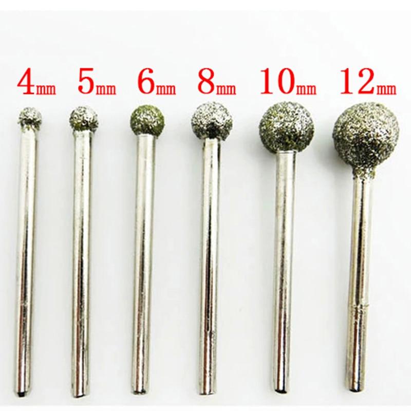 6 pçs redondo diamante rebolo para dremel ferramenta rotativa ferramentas de diamante para granito diamante burs dremel ferramentas acessórios