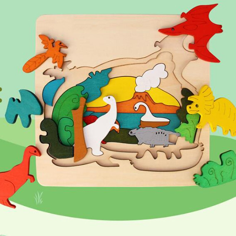 3D Animal Puzzle Baby Gift Wooden children's Educational Toys children's Educational Wooden Toys mul