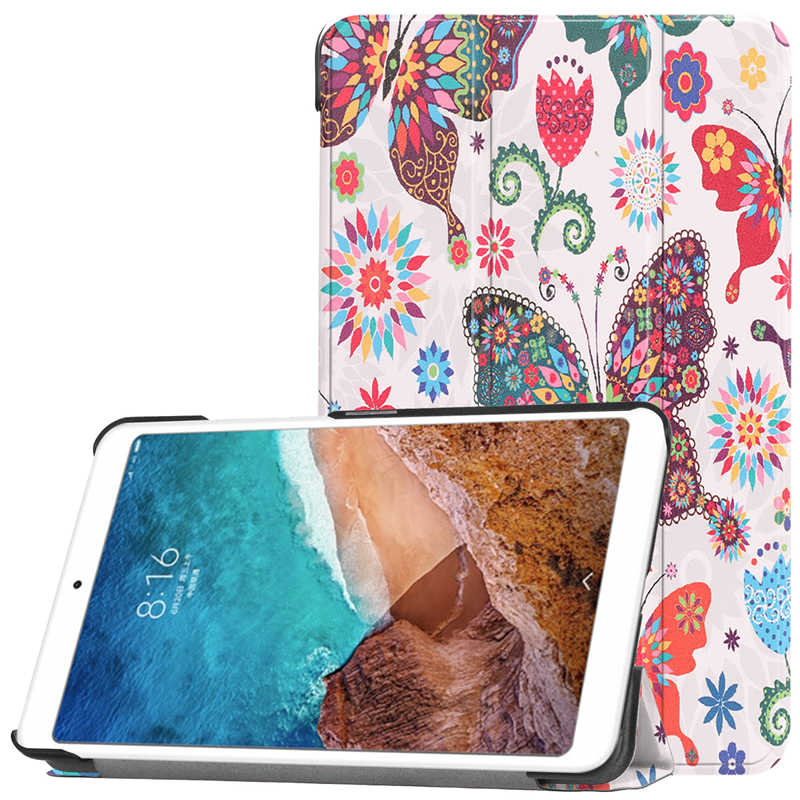 Para Xiaomi mi Pad 4 funda Smart Wake negro/gris funda Smart Flip Protecter PC PU impresión para Xiao funda mi Pad 4 8,0 pulgadas + película