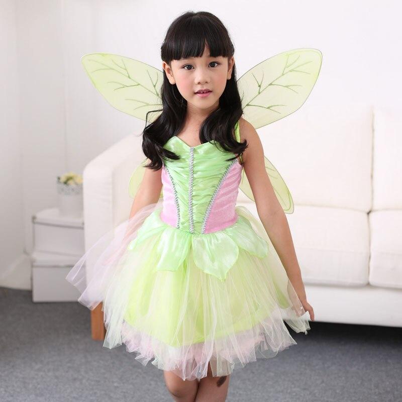 Vocole fille conte de fée vert fée clochette déguisement enfants Halloween fée clochette Cosplay déguisement