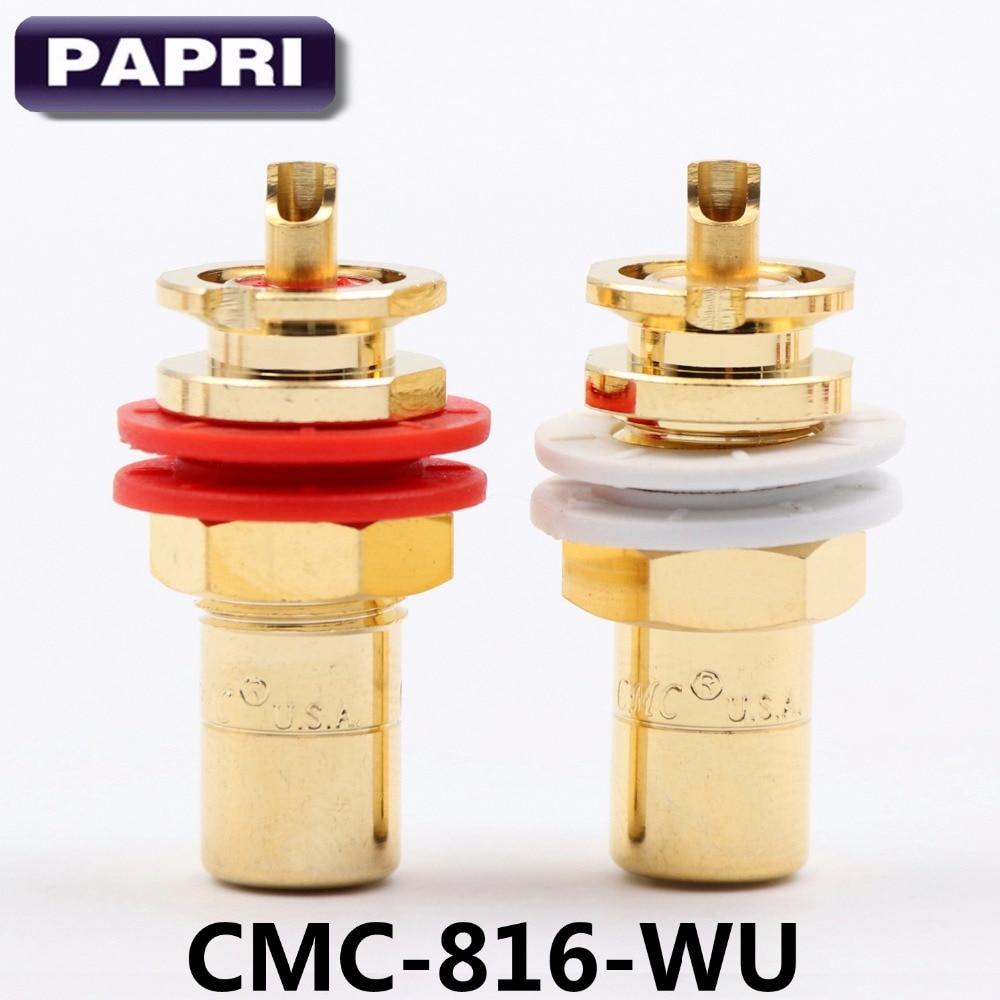 موصل موصل موصل RCA مطلي بالذهب CMC 816-WU 24K, 10 أزواج من قابس OFC Jack CMC 816-WU 24K ، لمشغل CD ، مكبر الصوت ، فراغ ، DAC