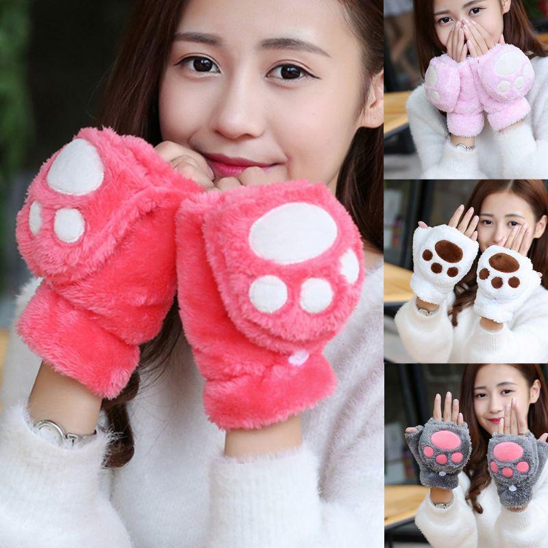 Mujeres niñas invierno grueso de felpa adorable garra de gato oso pata Flip guantes contraste Color sin dedos Convertible mitones muñeca calentador