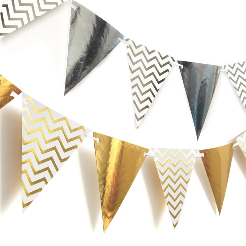 3m 12 bandeira de ouro placa de papel preto guirlanda banner para chá de fraldas festa de aniversário decoração do quarto dos miúdos guirlanda bunting