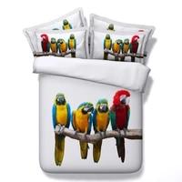 3d bird print bedding set california king queen size full double twin single duvet cover bed in a bag sheet spread linen 4pcs