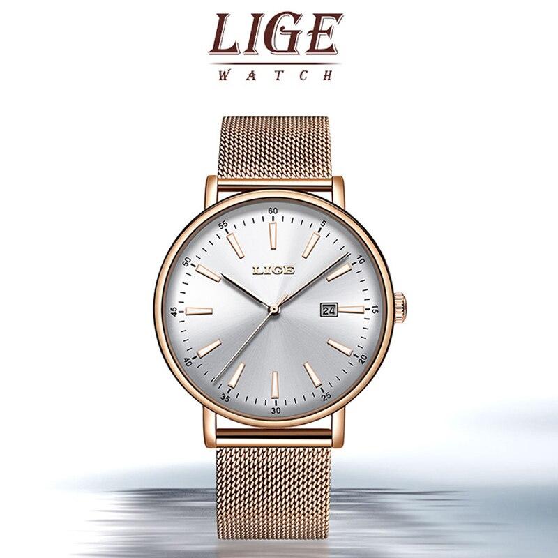 LIGE Women Watches Top Luxury Brand Quartz Watch Lady Fashion Luminous Clock Waterproof Date Girl Wristwatch Gift for Wife 2019 enlarge