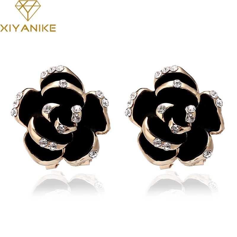XIYANIKE Fashion Vintage Black Rose Flower Crystal Rhinestone Stud Earrings Rose Gold Color Earrings For Women/Girls Jewelry E76
