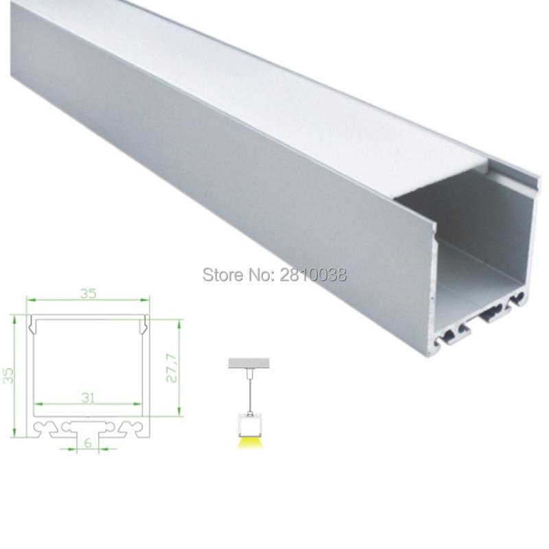 100 x 2M Sets/Lot Al6063 T6 aluminum profile led strip light and 35mm wide U style led aluminum extrusions for suspending lamp