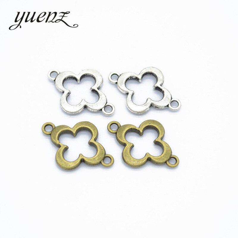 Colgantes antiguos de trébol de cuatro hojas YuenZ 20 piezas para la fabricación de joyas hechos a mano Carft 21*15mm Q413
