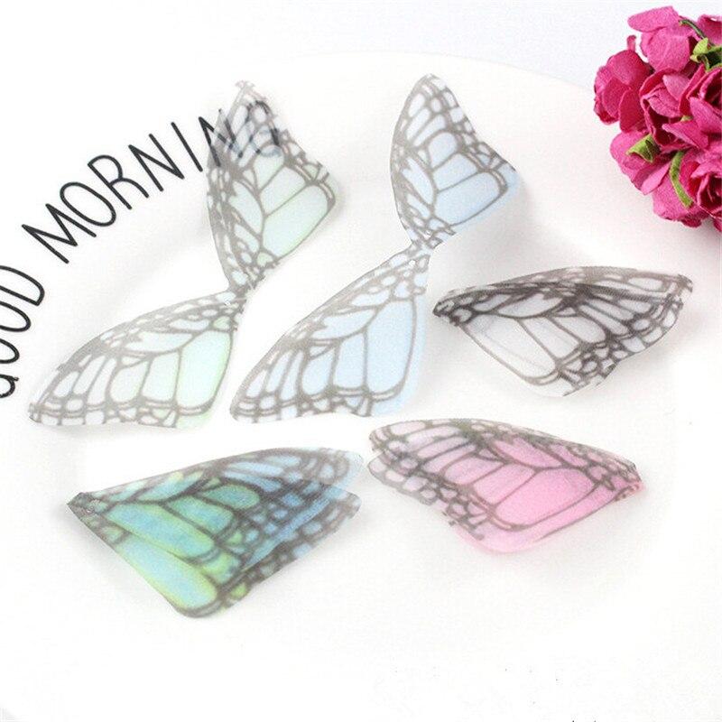 20 unids/lote, nuevos abalorios creativos de chifón, hilo de mariposa, Conector colgante para pendientes DIY, material para hacer joyas, accesorios
