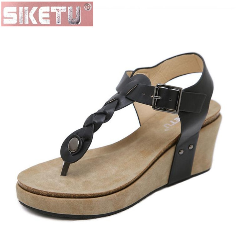 Zapatos de mujer SIKETU, Sandalias planas de PU, zapatos de mujer de Europa y América, Sandalias cómodas con hebilla de espuma en espiga