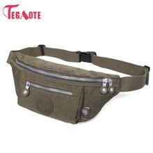 TEGAOTE Fashion Waist Bags Waterproof Men Belt Bag Casual Travel Waist Pack Portable Money Belt Nylon Work Waist Bag Phone Pouch