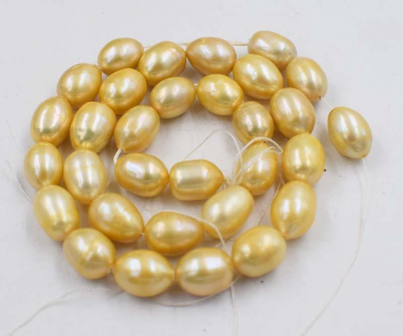 Cuentas sueltas champán 10-12mm perla de agua dulce huevo 15 pulgadas para hacer joyería DIY FPPJ cuentas al por mayor la naturaleza