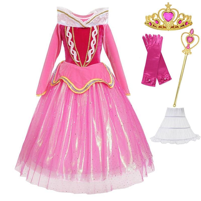 5-12 años Niña vestido para fiesta de graduación chico Cosplay Halloween princesa Dress up Sleeping Beauty Aurora disfraz carnaval vestido