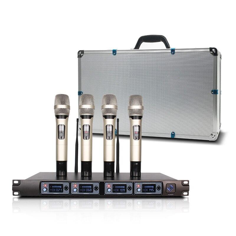 Sistema de altavoz de micrófono portátil inalámbrico profesional lavalier 4 canales micrófonos dinámicos para ktv con caja de aluminio