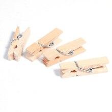 10 pièces 35mm vintage naturel en bois Clips papier Photo Clips pince à linge corde 3m artisanat décoration Clips chevilles note porte-mémo bricolage