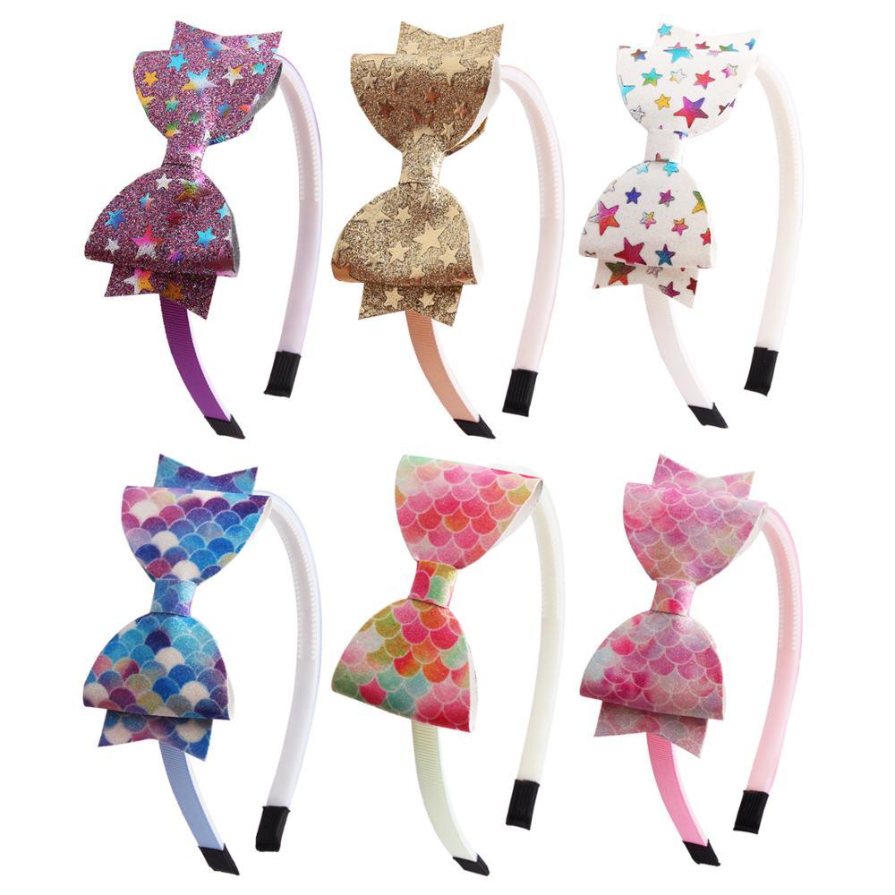 New Fashion Girl Hair Bow Headband Boutique Rainbow Printed Handmade Ribbon Hairbands Children Hair Accessories
