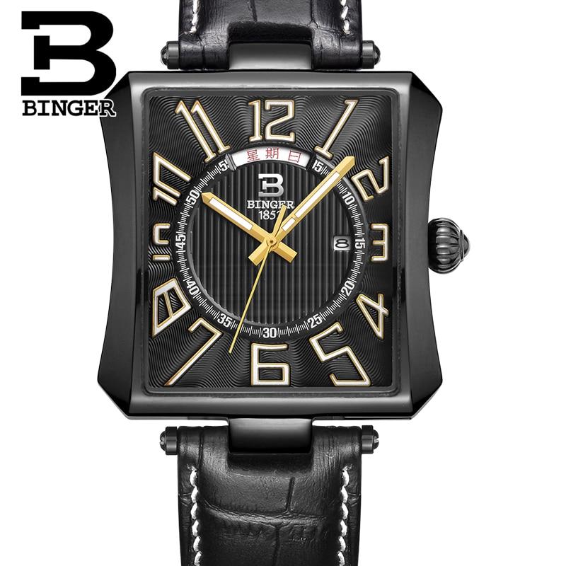 New Year gifts BINGER Men Classical Quartz Watches Men Dress Watch Leather Strap Relogio Masculino 30m Waterproof