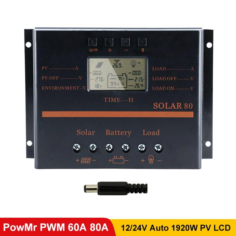 Powmr 50a 60a 80a pwm controlador de carga solar 12 v 24 v display lcd pv bateria com 5 v usb carregador solar regulador 1920 w s60 s80
