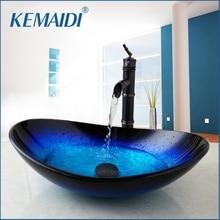 KEMAIDI, nuevo grifo de cascada, grifo negro + lavabo de baño, lavabo de vidrio templado, juego de grifo de latón pintado a mano, grifos mezcladores