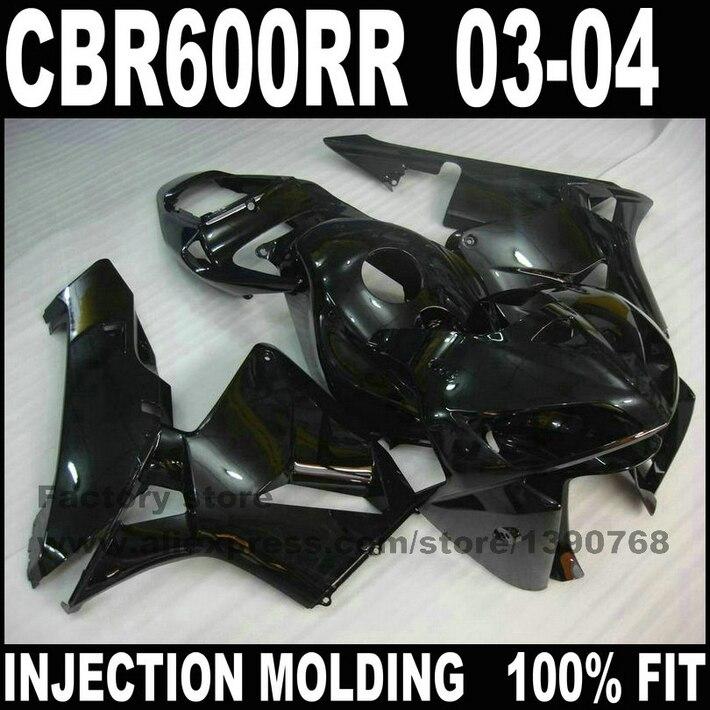 Juego de carenados de plástico ABS para Honda CBR600RR 03 04 CBR 600 CBR600 RR 2003 2004, kit de carenado completo negro de pieza de motocicleta