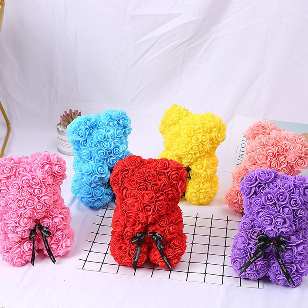 Romantice Rosa Urso de Brinquedo com Caixa de Presente da Festa de Casamento do Dia Dos Namorados