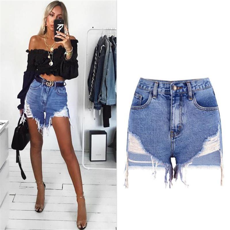 SupSindy Women Short Jeans 2020 Europe Style Vintage High Waist tassel Denim Shorts luxury Brand Slim Casual ripped Short Jeans