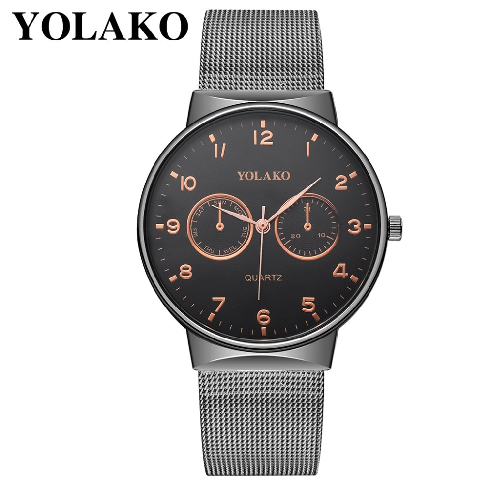 Reloj de pulsera YOLAKO de malla fina para hombre, relojes minimalistas para hombre, reloj deportivo de cuarzo, reloj para hombre