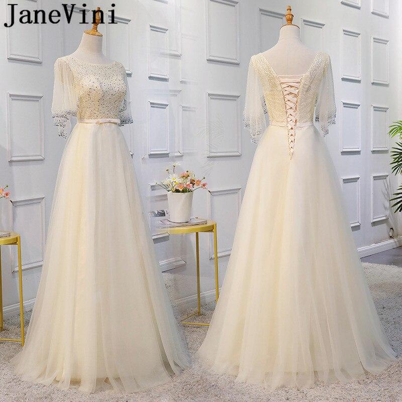 JaneVini-vestido de noche de media manga con cuentas, encaje largo de tul,...