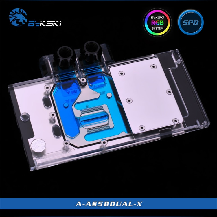 Bloque de agua BYKSKI para ASUS RX580-DUAL-O8G luz RGB/cubierta completa tarjeta gráfica cobre radiador bloque de cobre