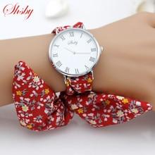shsby brand new Lady flower cloth wristwatch Roman silver women dress watch high quality fabric watc
