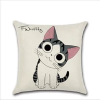 flax fabric pillow case christmas pillow case 45x45cm cat pillow cover cartoon animal bolster