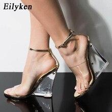 Eilyken Champagne Black PVC Transparent Crystal Wedges Sandals Sexy Open Toed Buckle Strap Women Sandals Slides Party Pumps