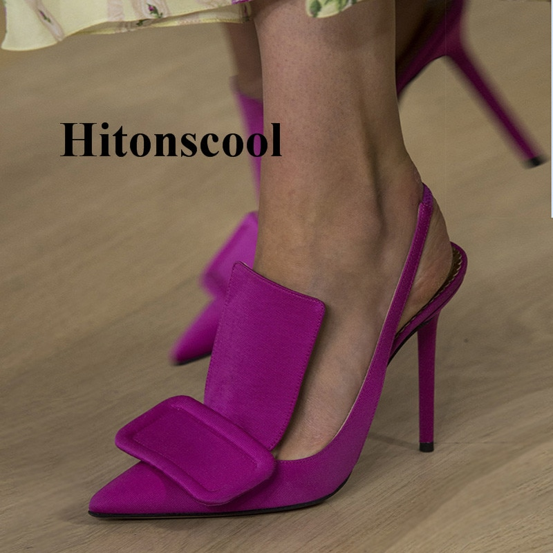 Diseñadores De lujo Mujer Zapatos De tacón alto bombas gran cuadrado hebilla Zapatos De vestir Mujer pista Zapatos De Mujer