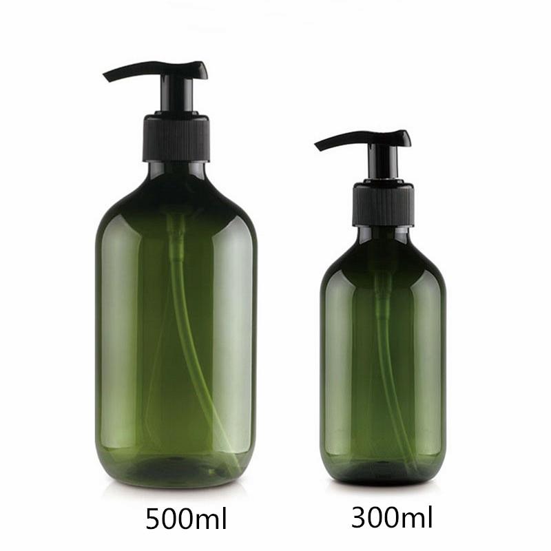 300 ml/500 ml 12 pçs/lote vazio verde escuro/marrom garrafa de plástico, Garrafa PET garrafa bomba de loção garrafa de Sabão Líquido
