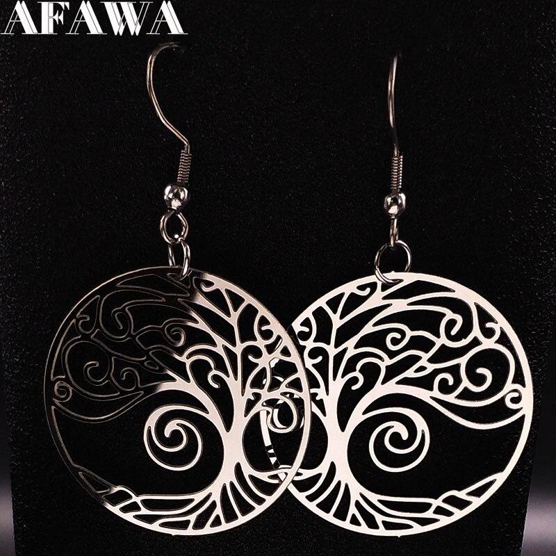 2020 Fashion Stainless Steel Tree of Life Drop Earrings Women Silver Color Bohemian Earrings Jewelry pendientes mujer E1508S01
