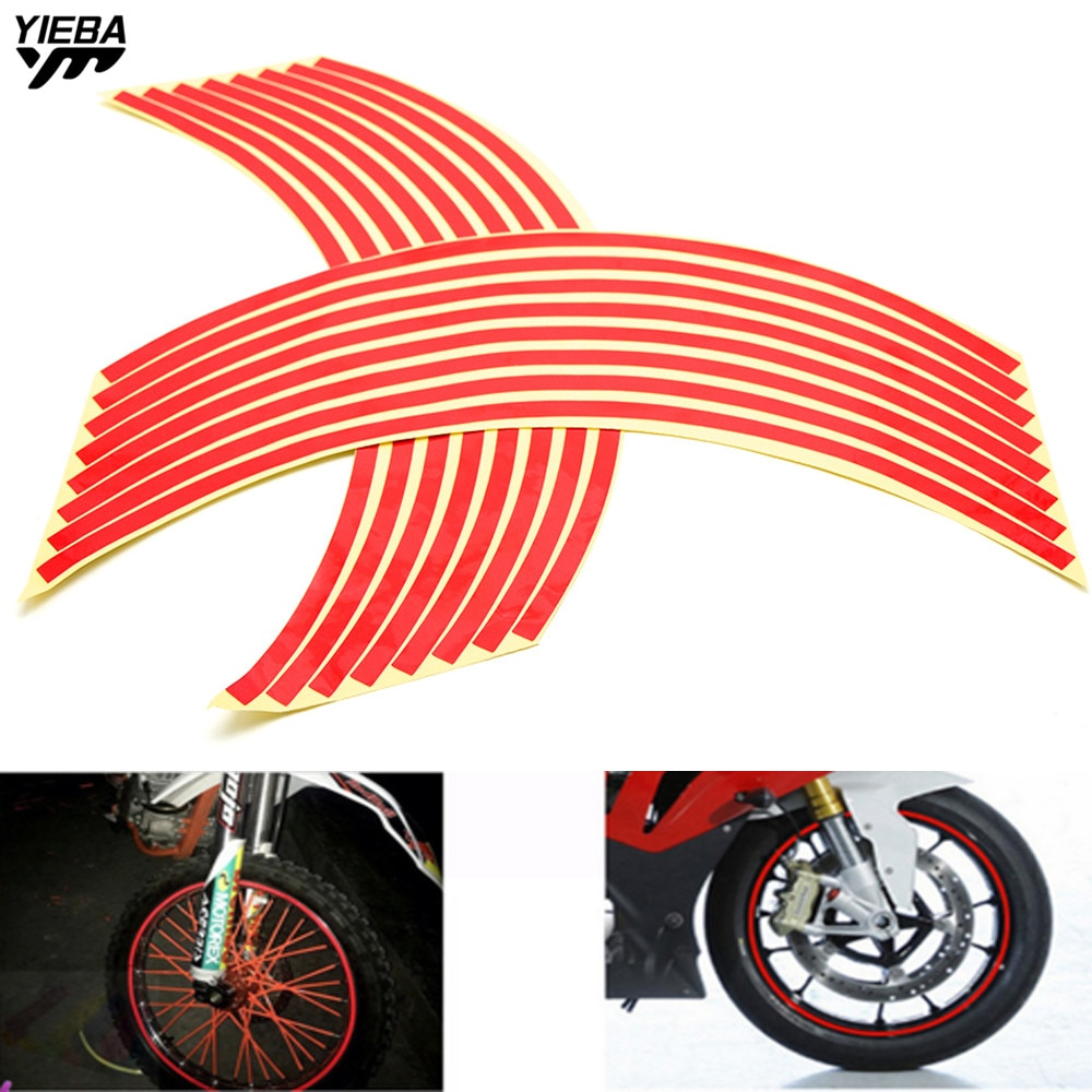 16 Strips Wheel Sticker Reflective Rim Stripe Tape Bike Motorcycle 17 18inch Stickers for honda CB1000R CBR600RR CBR125R CB600F